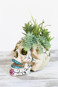 easy DIY skull centerpiece for Halloween