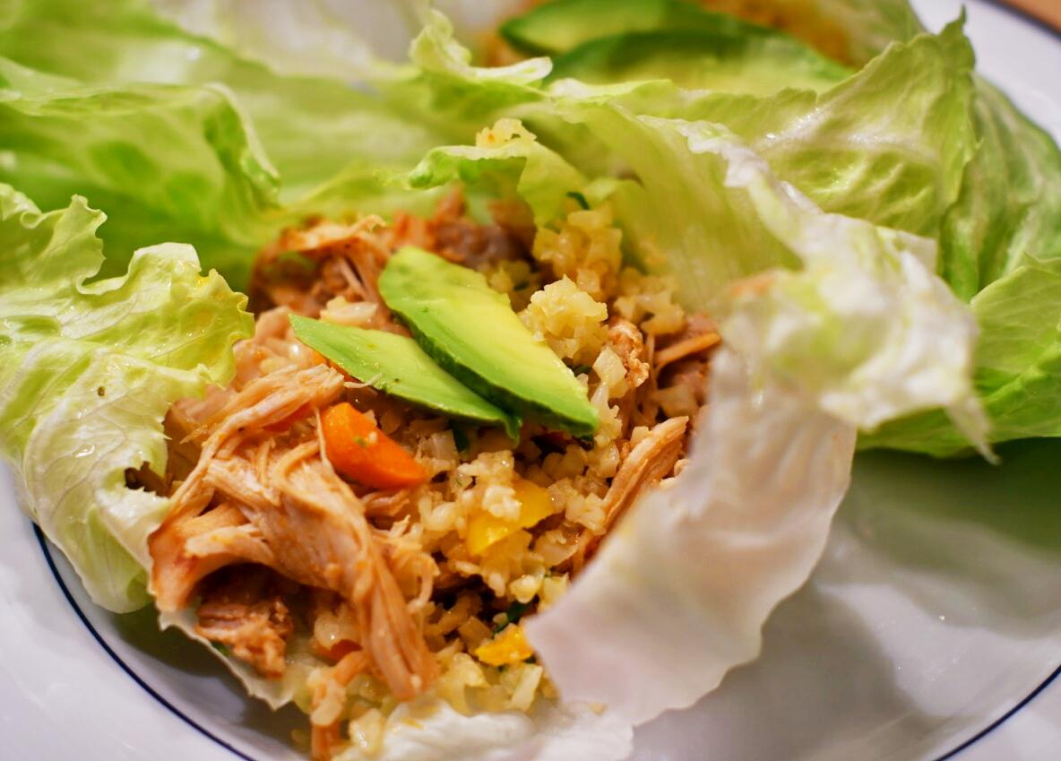 paleo pressure cooker pulled chicken and fiesta caullirice tacos
