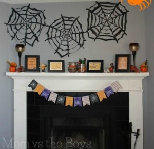 DIY Halloween trashbag spider webs