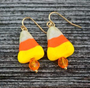 DIY candy corn earrings