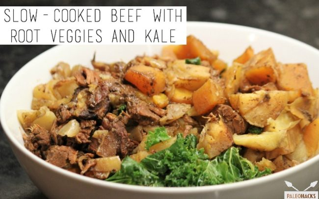 Paleo slow cooker beef with veggies and kale