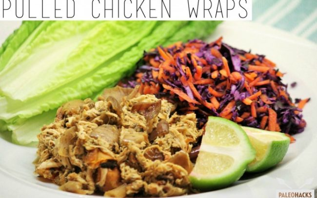 Paleo Pulled Chicken Lettuce Wraps