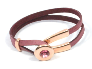 rose gold leather birthstone bracelet