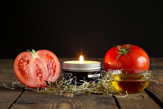 caprese tomato and basil scented candle