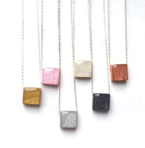 eco friendly square pendant necklace